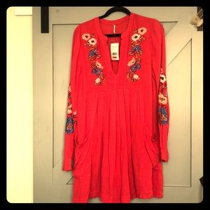 Free People embroidered long sleeve boho dress M